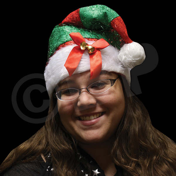Customized Red and Green Striped Santa Hat