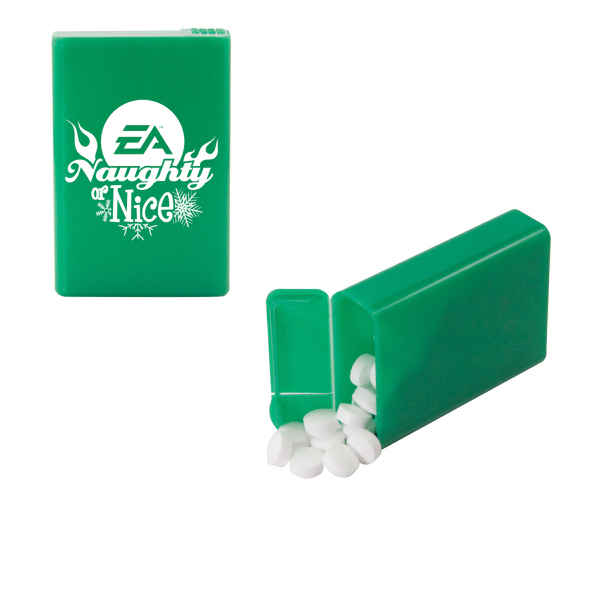 Promotional Refillable Plastic Mint/Candy Dispenser with Sugar-Free Mint