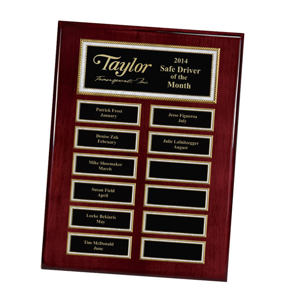 Customized Rosewood Piano Finish 12-Plate Pearl Border Plaque
