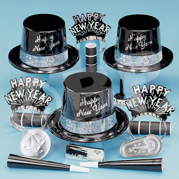 Personalized Silver and Ebony Fantasy New Year's Eve Party Kit for 50
