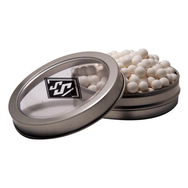 Custom Silver Short Round Tin with Corporate Jelly Beans