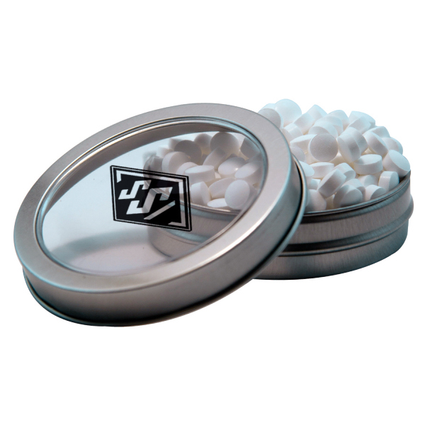 Customized Silver Short Round Tin with Sugar-Free Mints