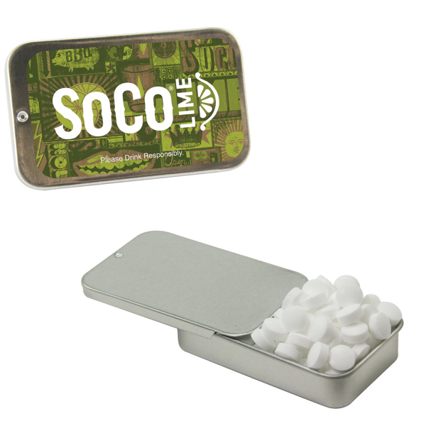 Promotional Silver Slider Tin with Sugar-Free Mints