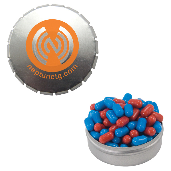 Promotional Silver Snap-Top Mint Tin with Colored Bullet Candy