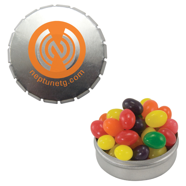 Imprinted Silver Snap-Top Mint Tin with Jelly Beans