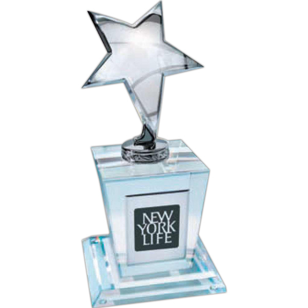 Personalized Silver Star on Crystal Base