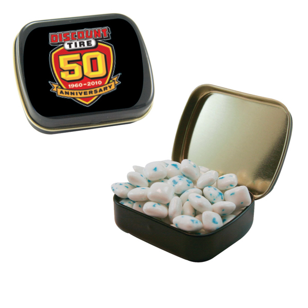 Personalized Small Black Mint Tin with Sugar-Free Gum