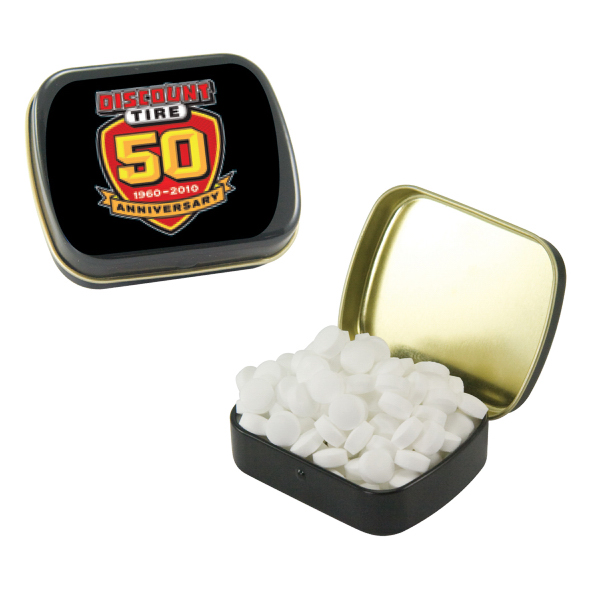 Imprinted Small Black Mint Tin with Sugar-Free Mints