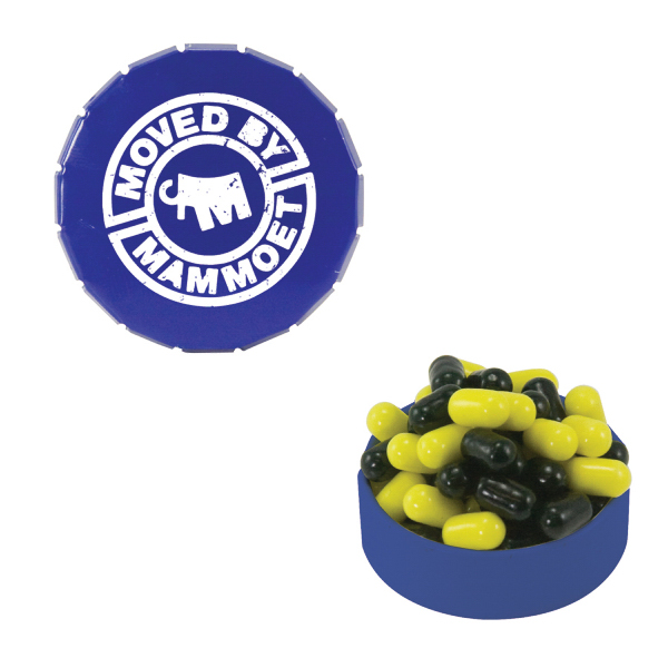 Personalized Small Blue Snap-Top Mint Tin with Colored Bullet Candy