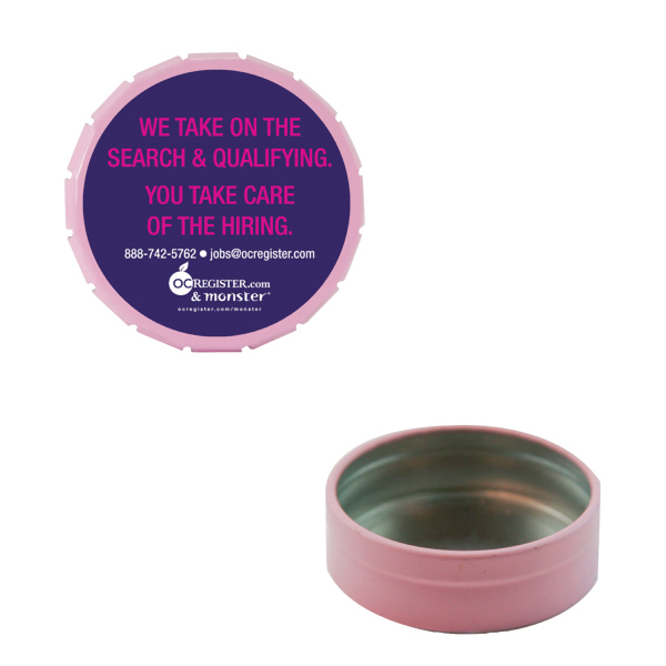 Imprinted Small Empty Pink Snap-Top Mint Tin