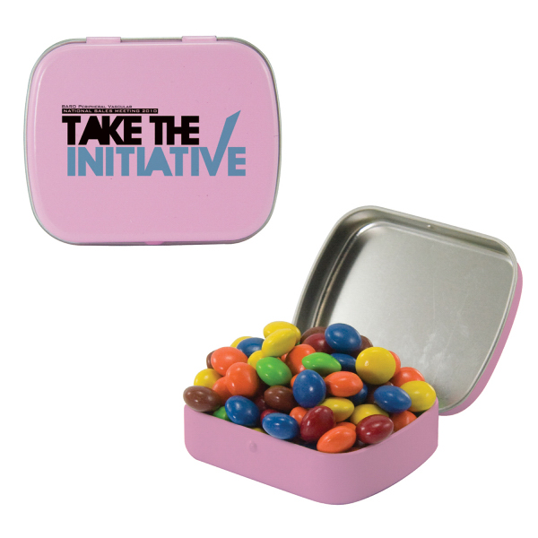 Personalized Small Pink Mint Tin with Chocolate Littles