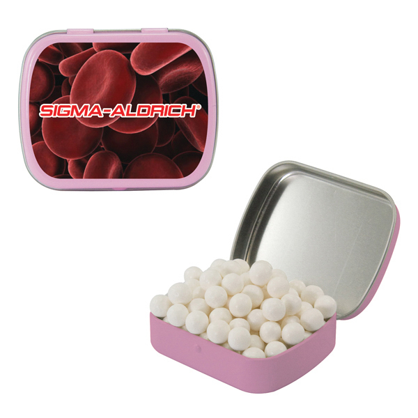 Custom Small Pink Mint Tin with Signature Peppermints