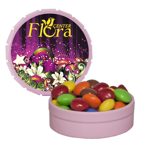 Custom Small Pink Snap-Top Mint Tin with Chocolate Littles