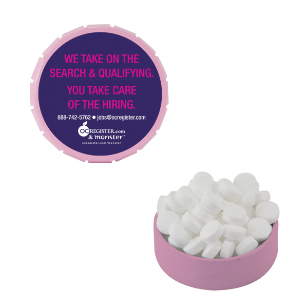Promotional Small Pink Snap-Top Mint Tin with Sugar-Free Mints