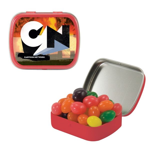 Imprinted Small Red Mint Tin with Jelly Beans