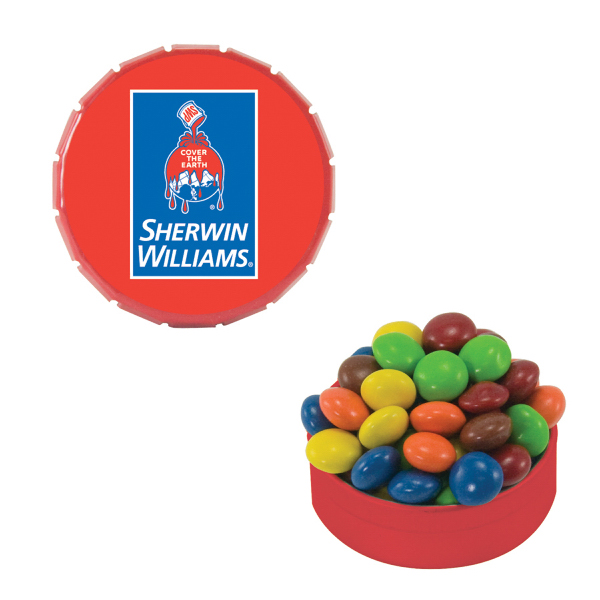 Printed Small Red Snap-Top Mint Tin with Chocolate Littles