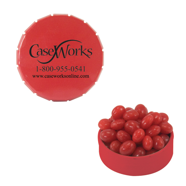 Imprinted Small Red Snap-Top Mint Tin with Cinnamon Red Hots