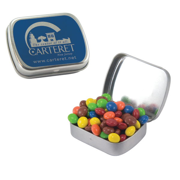 Customized Small Silver Mint Tin with Chocolate Littles