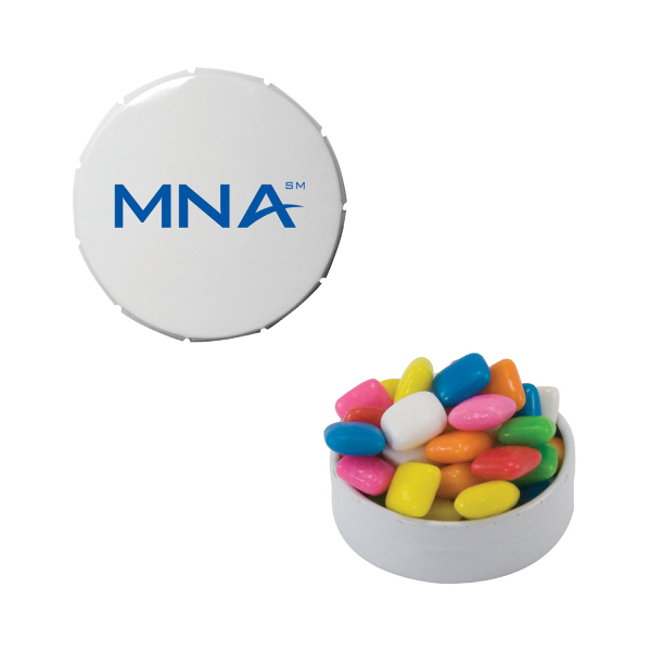 Personalized Small White Snap-Top Mint Tin with Gum