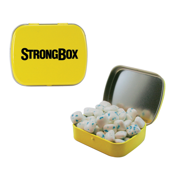 Printed Small Yellow Mint Tin with Sugar-Free Gum