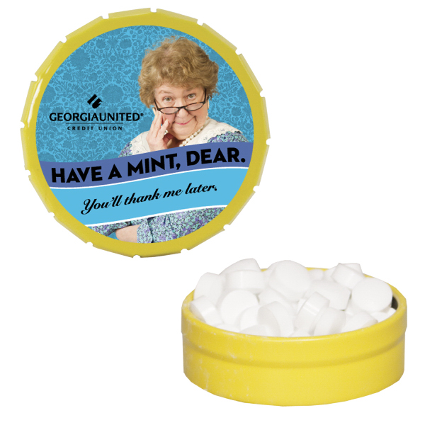 Printed Small Yellow Snap-Top Mint Tin with Sugar-Free Mints
