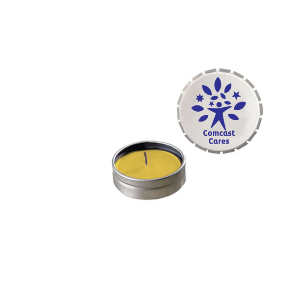 Personalized Snap-Top Tin Soy Candle (Lemon Chiffon) - Silver