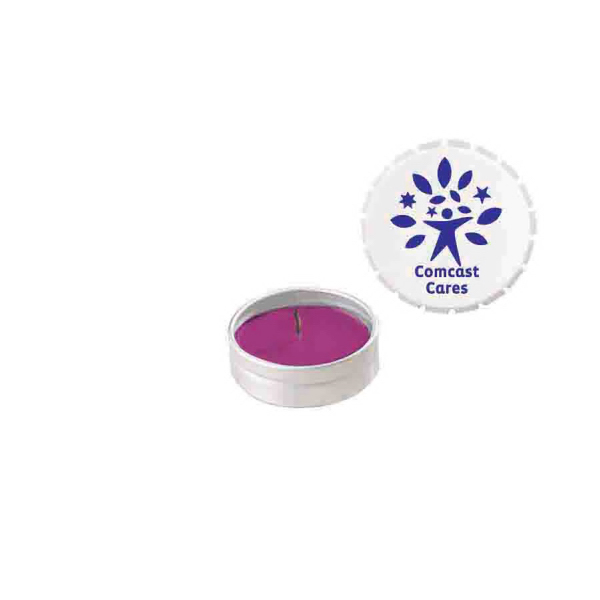 Imprinted Snap-Top Tin Soy Candle (Lilac) - White