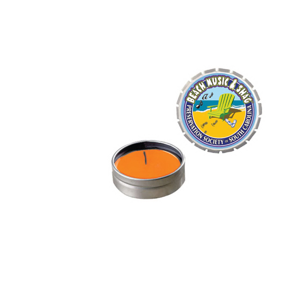 Printed Snap-Top Tin Soy Candle (Mango and Papaya) - Silver
