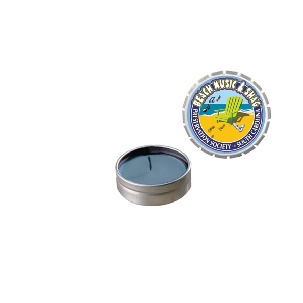 Customized Snap-Top Tin Soy Candle (Ocean Mist) - Silver