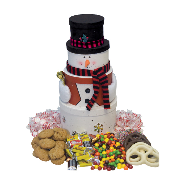 Customized Snowman Tower with Chocolate Candy, Cookies, Pretzels, Mints