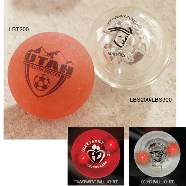 "Imprinted Sounder - 1 7/8"" Transparent Sound Ball with Red LEDs"