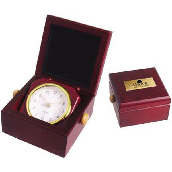 Promotional Square rosewood finish clock in desk box