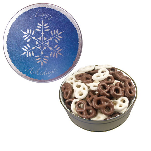 Promotional The Grand Tin with Chocolate Covered Mini Pretzels-Snowflake