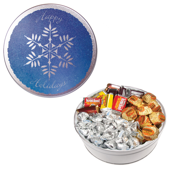 Customized The Royal Tin with Hershey Chocolates - Snowflake Design