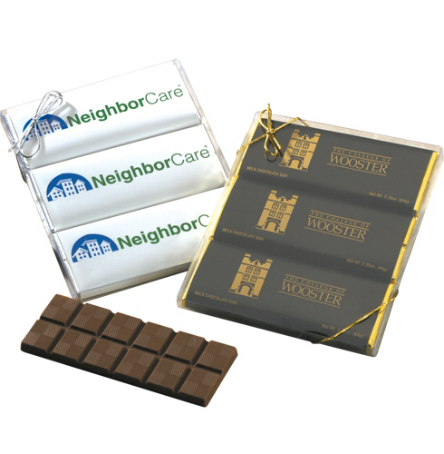 Customized Three 2.25 oz Wrapped Chocolate Bars in a Clear Case