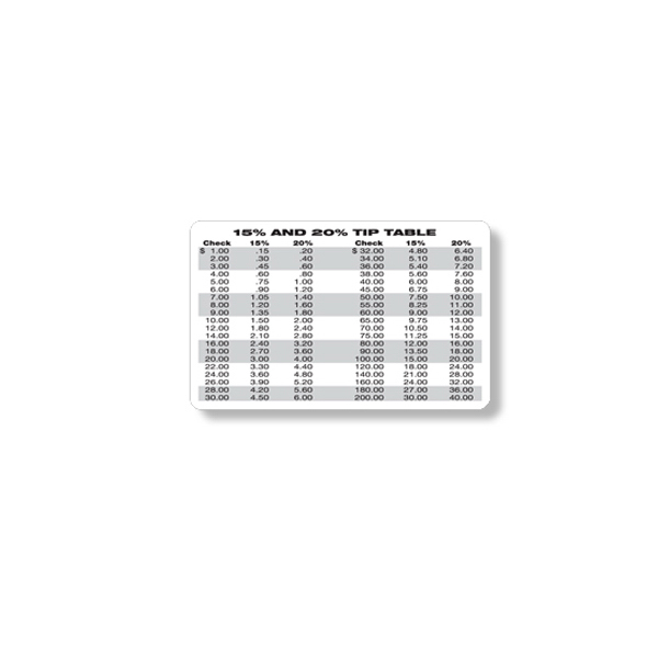 Promotional Tipping Chart Wallet Card