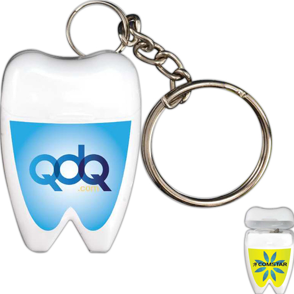 Printed Tooth Shaped Dental Floss with Keychain