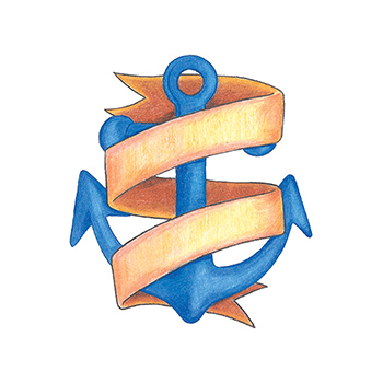 Customized Traditional Anchor with Banner Temporary Tattoo