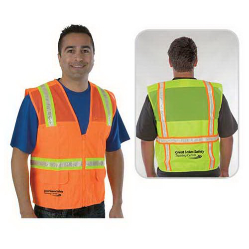 Promotional Traditional surveyor safety vest, mesh top and solid bottom