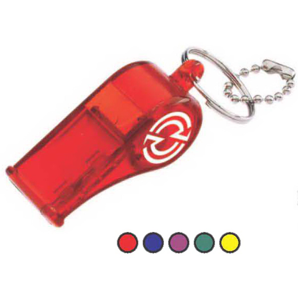 Imprinted Translucent Color Whistle with Matching Bead