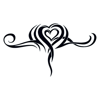 Printed Tribal Heart Lower Back Temporary Tattoo