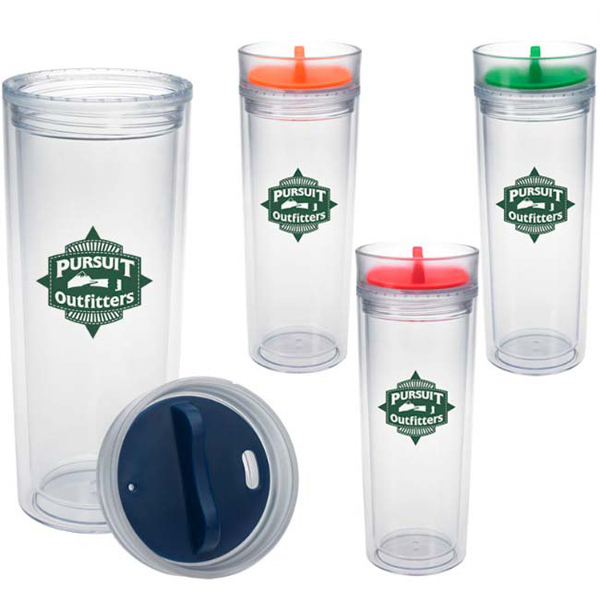 Imprinted Tumbler with Color Twist Lid - 16 oz