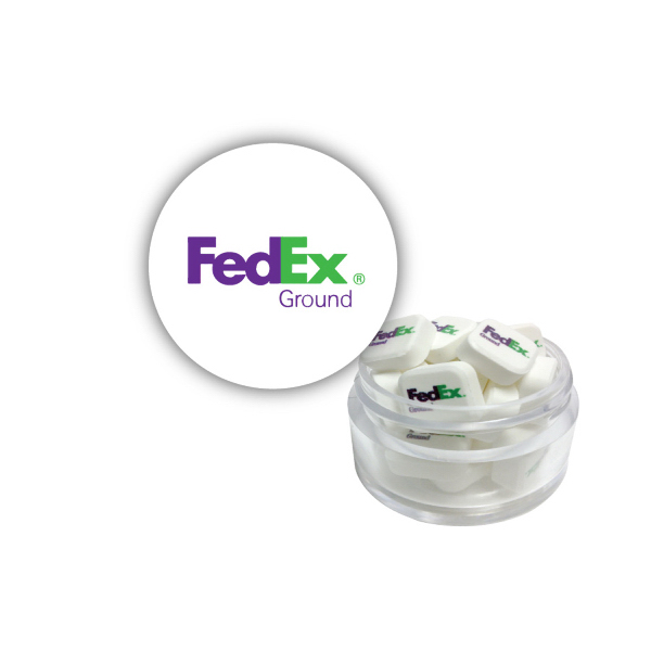 Customized Twist Top Container White Cap filled with Printed Mints