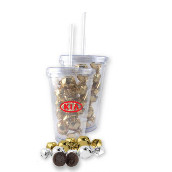 Custom Twist-Wrapped Truffles In A 16 oz. Clear Acrylic Tumbler