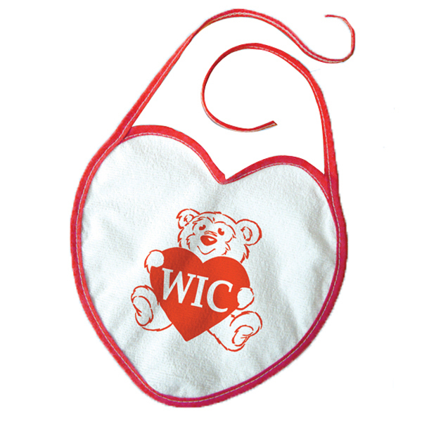 Printed Vinyl Heart Shaped Baby Bib