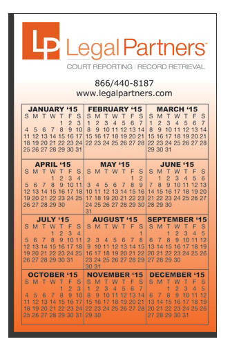 "Customized W-118 Calendar Card 3 1/2"" x 5 1/2"""