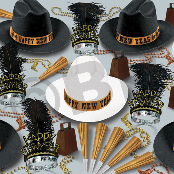 Imprinted Western Nights New Year's Eve Party Kit for 50
