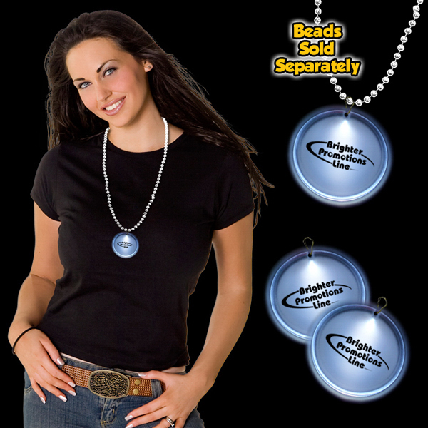 "Promotional White 2""  LED Lighted Badges with attached J-Hook medallion"