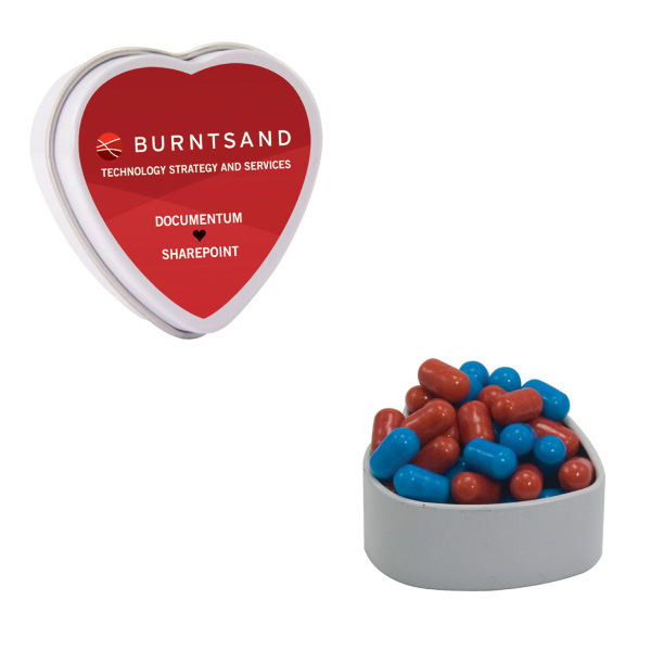 Promotional White Heart Tin with Colored Bullet Candy