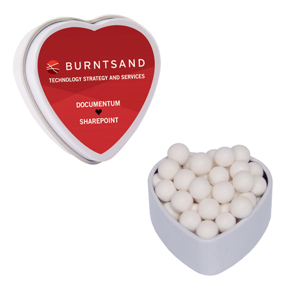 Custom White Heart Tin with Signature Peppermints